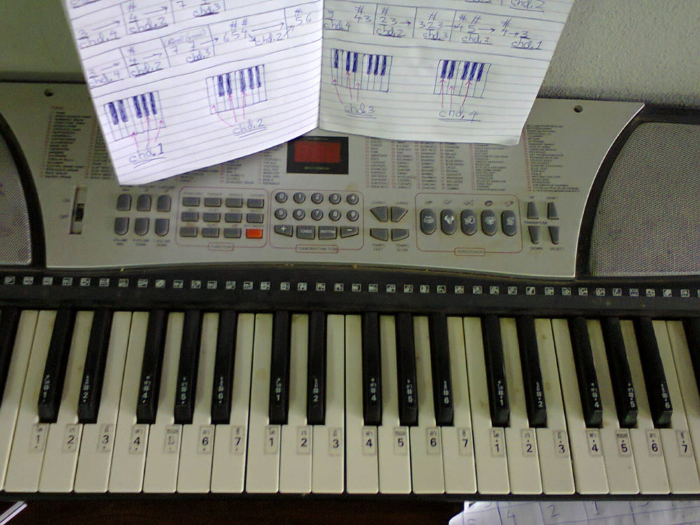You can play the piano with an electric keyboard like this!