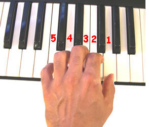 Left Hand in Middle C Position on Piano